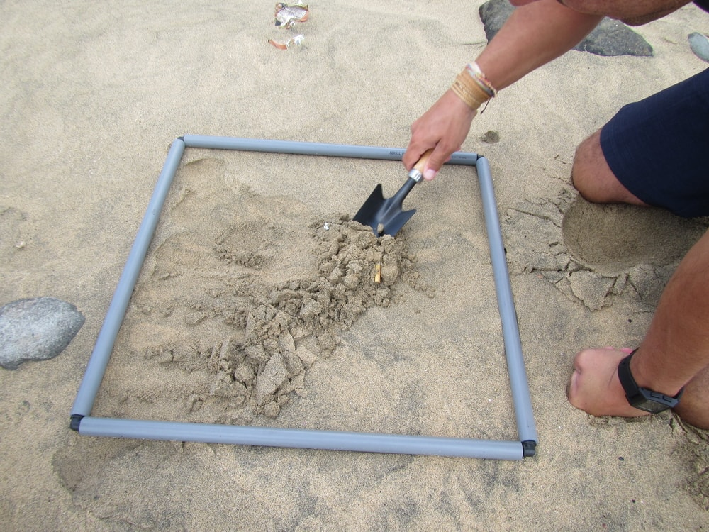 Amostragem de microplásticos em sedimentos costeiros